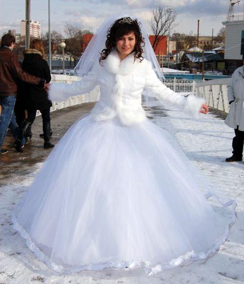 Платье свадебное зимой
